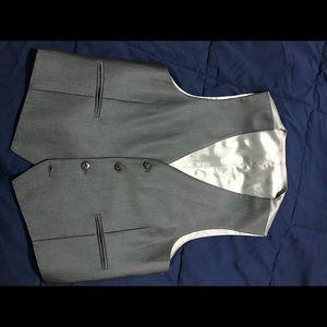 Calvin Klein Slim Fit Suit Vest - Gray Herringbone
